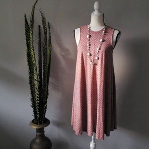 Sonoma red and white sleeveless trapeze dress